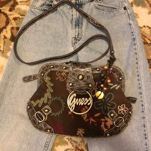 90s guess bag purse beads brown flowers canvas